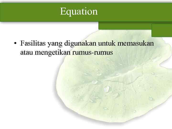 Equation • Fasilitas yang digunakan untuk memasukan atau mengetikan rumus-rumus