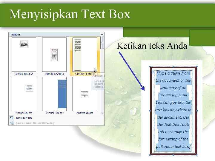 Menyisipkan Text Box Ketikan teks Anda