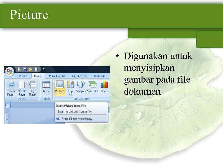 Picture • Digunakan untuk menyisipkan gambar pada file dokumen