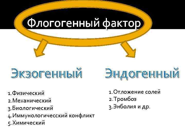 Флогогенный фактор Экзогенный 1. Физический 2. Механический 3. Биологический 4. Иммунологичесский конфликт 5. Химический