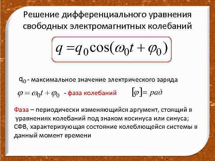 Решение дифференциального уравнения свободных электромагнитных колебаний q 0 - максимальное значение электрического заряда -
