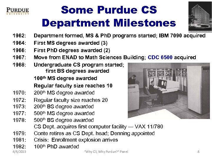 Some Purdue CS Department Milestones 1962: 1964: 1966: 1967: 1968: 1970: 1972: 1973: 1977: