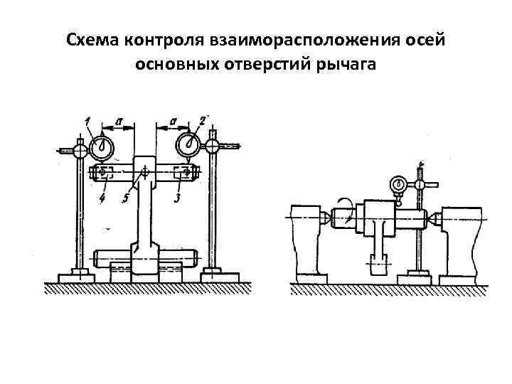 Схема контроля взаиморасположения осей основных отверстий рычага