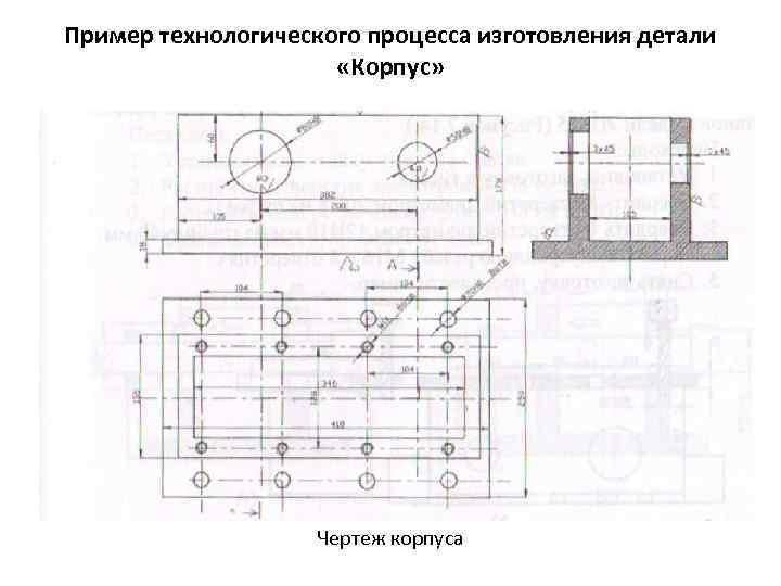 Пример технологического процесса изготовления детали «Корпус» Чертеж корпуса