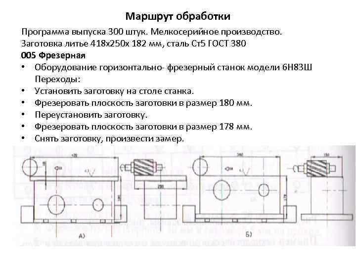 Маршрут обработки Программа выпуска 300 штук. Мелкосерийное производство. Заготовка литье 418 х250 х 182