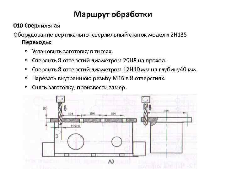 Маршрут обработки 010 Сверлильная Оборудование вертикально сверлильный станок модели 2 Н 135 Переходы: •