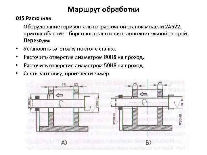Маршрут обработки 015 Расточная Оборудование горизонтально расточной станок модели 2 А 622, приспособление борштанга