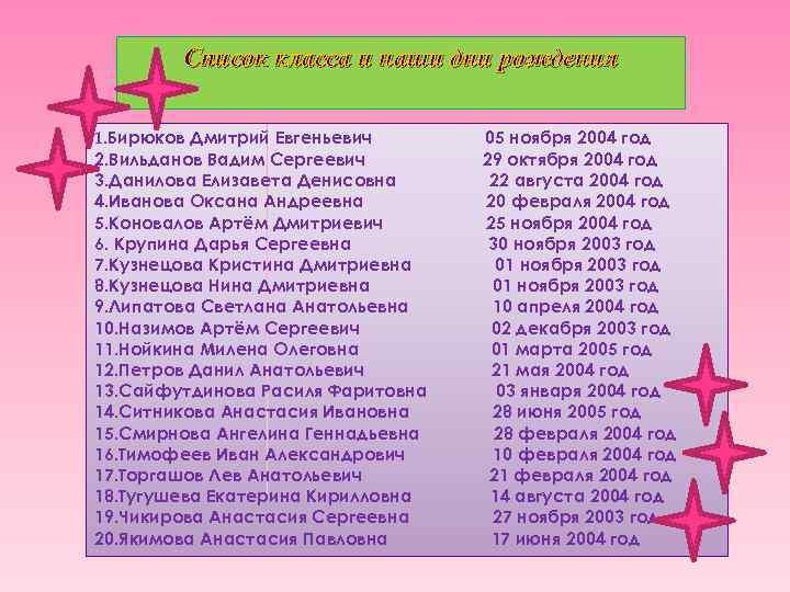 Список класса и наши дни рождения 1. Бирюков Дмитрий Евгеньевич 2. Вильданов Вадим Сергеевич