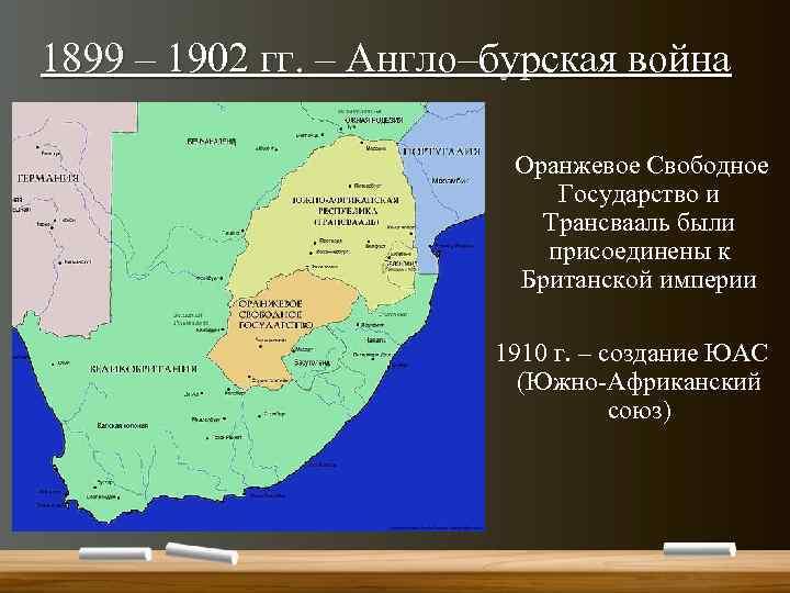 1899 – 1902 гг. – Англо–бурская война Оранжевое Свободное Государство и Трансвааль были присоединены