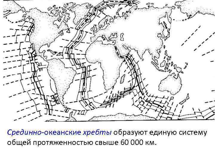 Срединно-океанские хребты образуют единую систему общей протяженностью свыше 60 000 км.