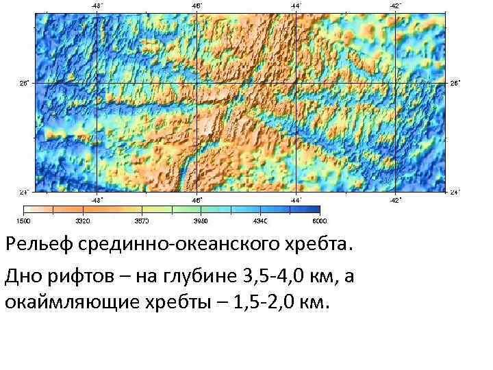 Рельеф срединно-океанского хребта. Дно рифтов – на глубине 3, 5 -4, 0 км, а