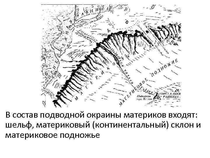 В состав подводной окраины материков входят: шельф, материковый (континентальный) склон и материковое подножье