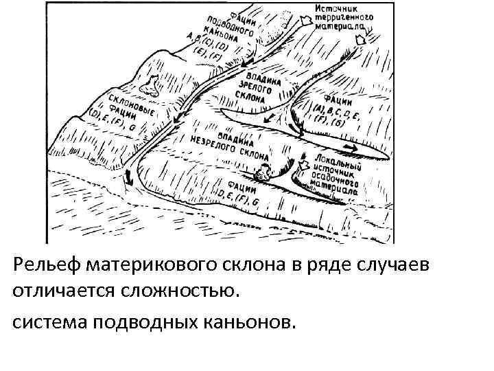 Рельеф материкового склона в ряде случаев отличается сложностью. система подводных каньонов.