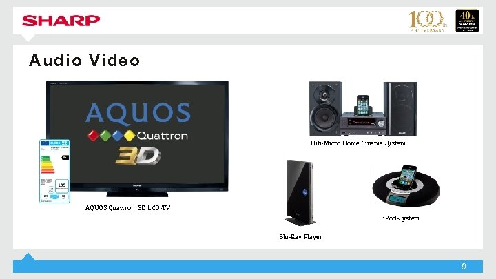 Audio Video Hifi-Micro Home Cinema System AQUOS Quattron 3 D LCD-TV i. Pod-System Blu-Ray