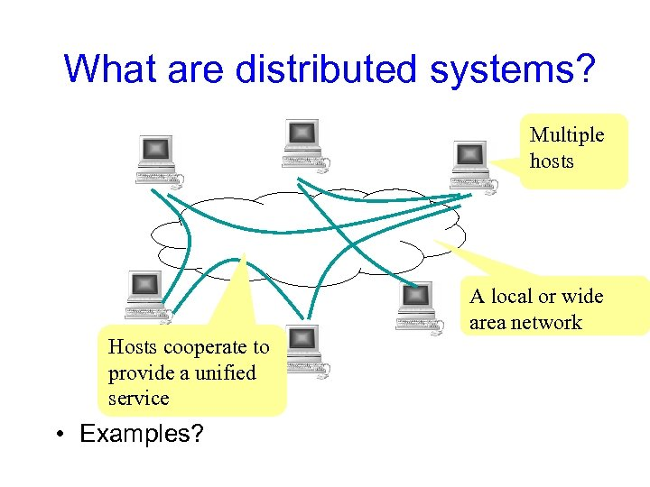 What are distributed systems? Multiple hosts A local or wide area network Hosts cooperate