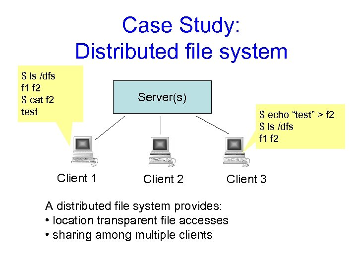 Case Study: Distributed file system $ ls /dfs f 1 f 2 $ cat