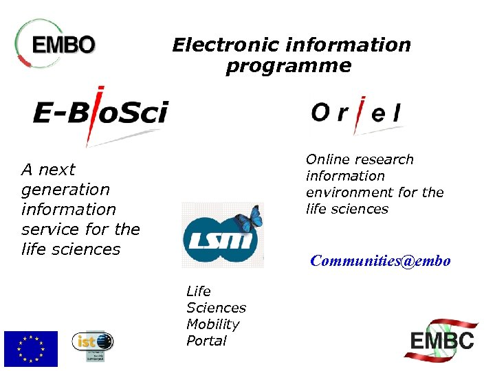 Electronic information programme Online research information environment for the life sciences A next generation