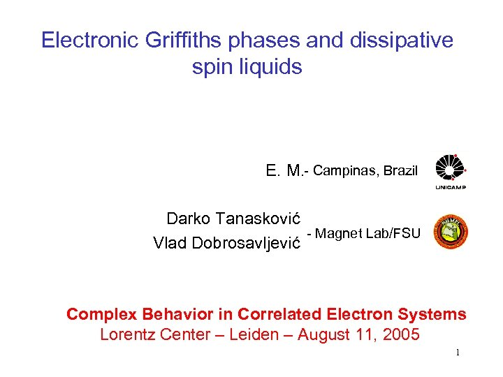 Electronic Griffiths phases and dissipative spin liquids E. M. - Campinas, Brazil Darko Tanasković