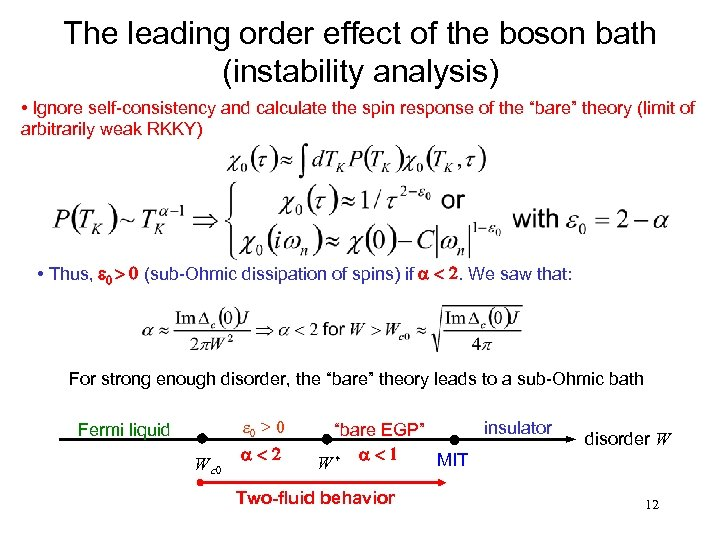 The leading order effect of the boson bath (instability analysis) • Ignore self-consistency and