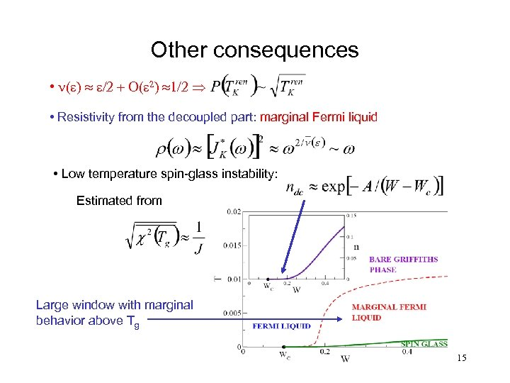 Other consequences • n(e) » e/2 + O(e 2) » 1/2 Þ • Resistivity