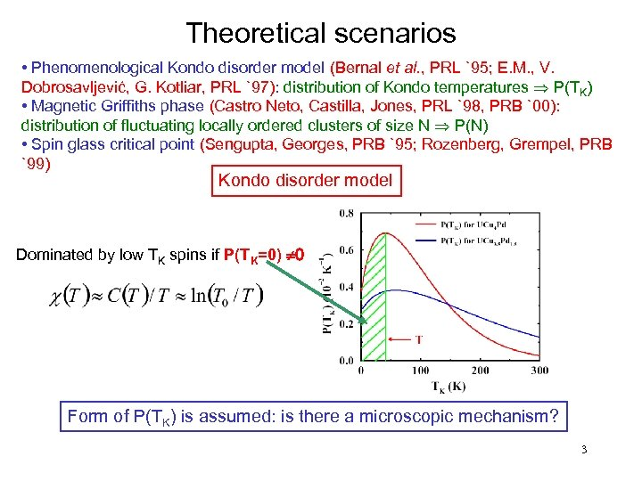 Theoretical scenarios • Phenomenological Kondo disorder model (Bernal et al. , PRL `95; E.