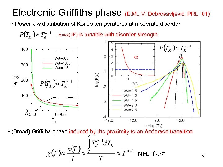 Electronic Griffiths phase (E. M. , V. Dobrosavljević, PRL `01) • Power law distribution