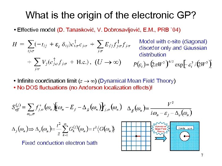 What is the origin of the electronic GP? • Effective model (D. Tanasković, V.