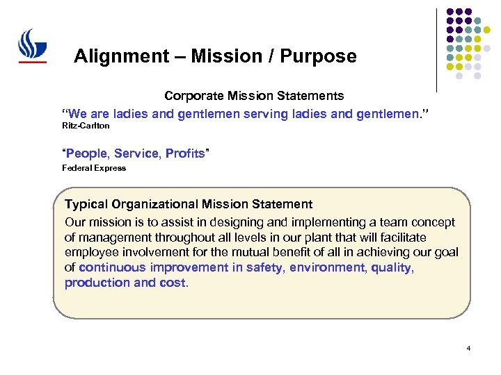 "Alignment – Mission / Purpose Corporate Mission Statements ""We are ladies and gentlemen serving"