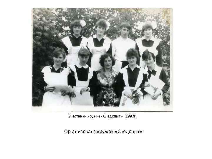 Участники кружка «Следопыт» (1987 г) Организовала кружок «Следопыт»
