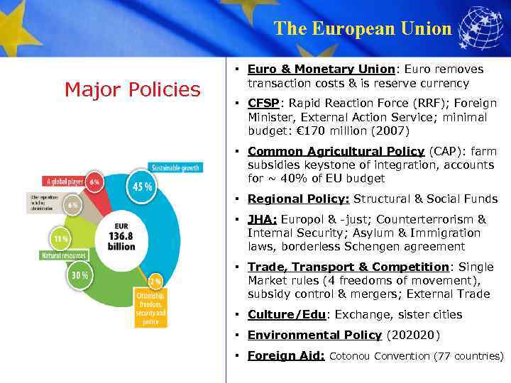 The European Union Major Policies ▪ Euro & Monetary Union: Euro removes transaction costs