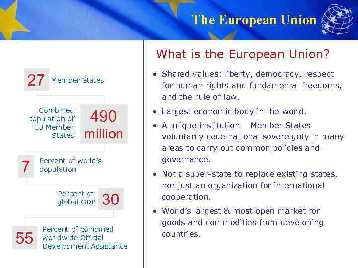 The European Union What is the European Union? 27 Member States Combined population of