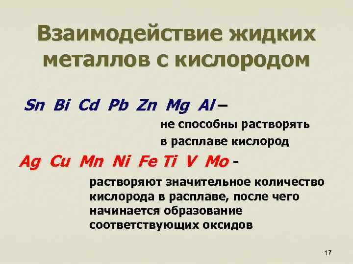 Взаимодействие жидких металлов с кислородом Sn Bi Cd Pb Zn Mg Al – не