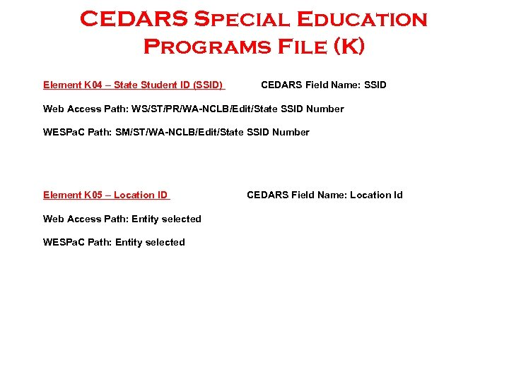 CEDARS Special Education Programs File (K) Element K 04 – State Student ID (SSID)