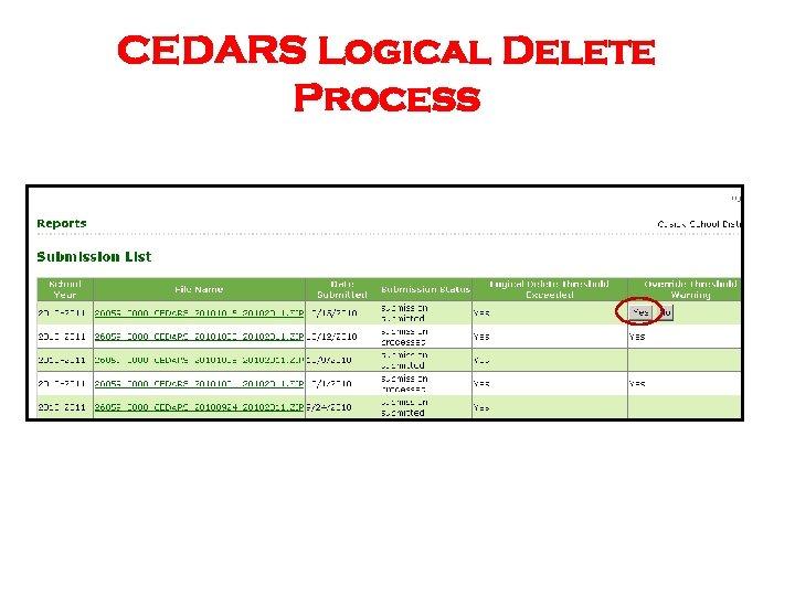 CEDARS Logical Delete Process
