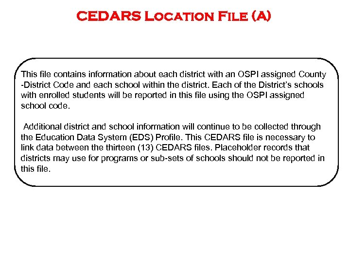 CEDARS Location File (A) This file contains information about each district with an OSPI