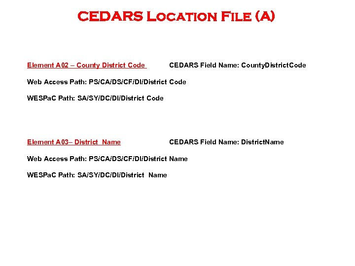 CEDARS Location File (A) Element A 02 – County District Code CEDARS Field Name: