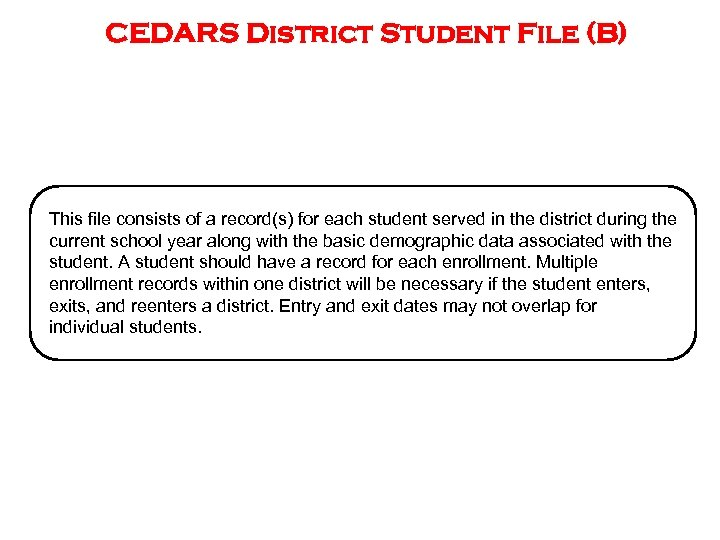 CEDARS District Student File (B) This file consists of a record(s) for each student