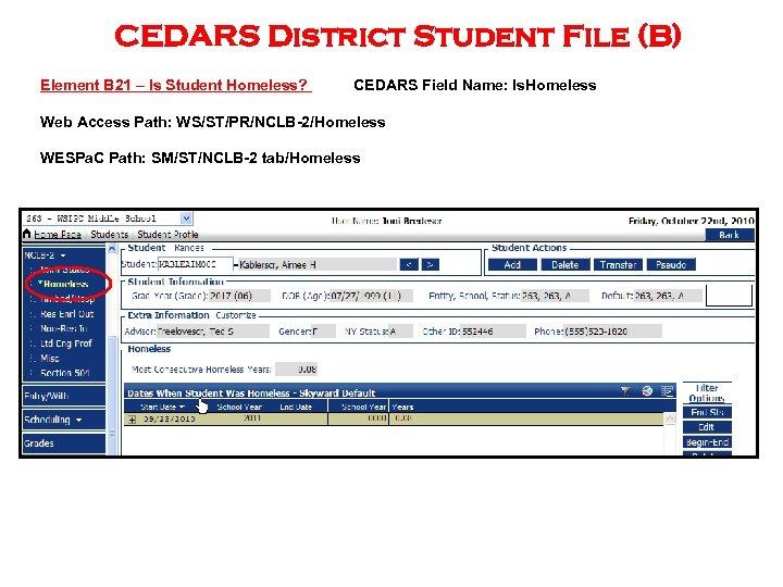 CEDARS District Student File (B) Element B 21 – Is Student Homeless? CEDARS Field