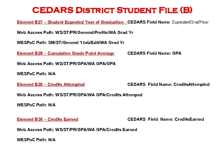 CEDARS District Student File (B) Element B 27 – Student Expected Year of Graduation