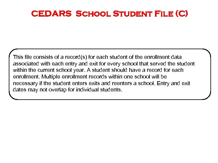 CEDARS School Student File (C) This file consists of a record(s) for each student