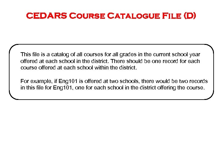 CEDARS Course Catalogue File (D) This file is a catalog of all courses for