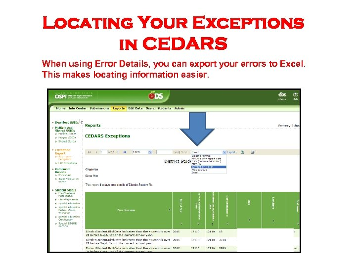 Locating Your Exceptions in CEDARS When using Error Details, you can export your errors