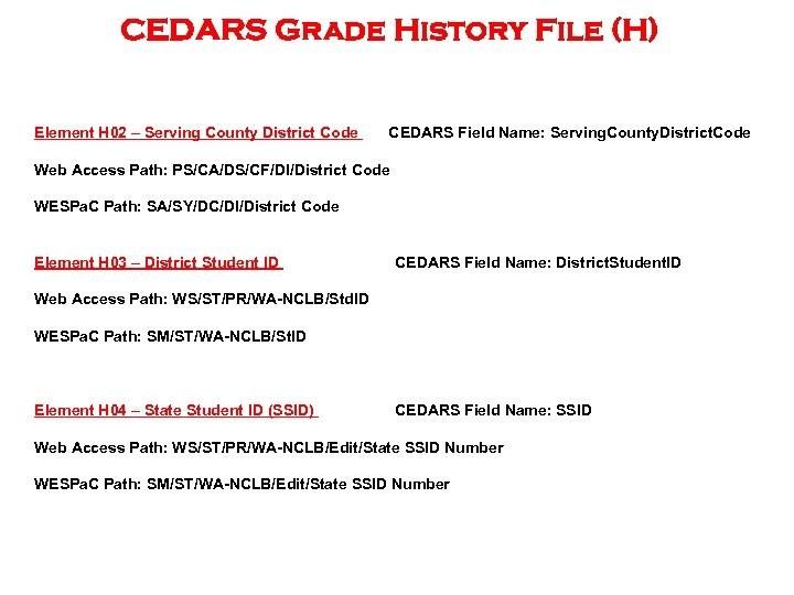 CEDARS Grade History File (H) Element H 02 – Serving County District Code CEDARS