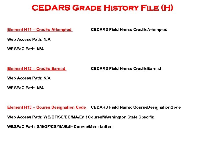 CEDARS Grade History File (H) Element H 11 – Credits Attempted CEDARS Field Name: