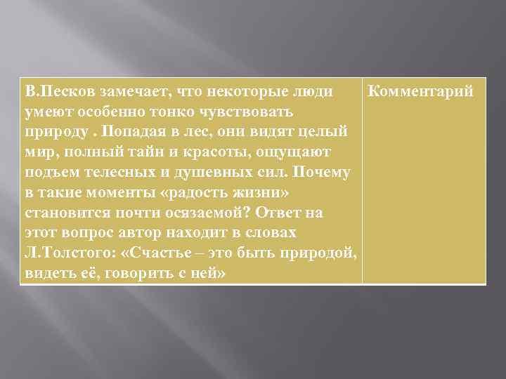 В. Песков замечает, что некоторые люди Комментарий умеют особенно тонко чувствовать природу. Попадая в