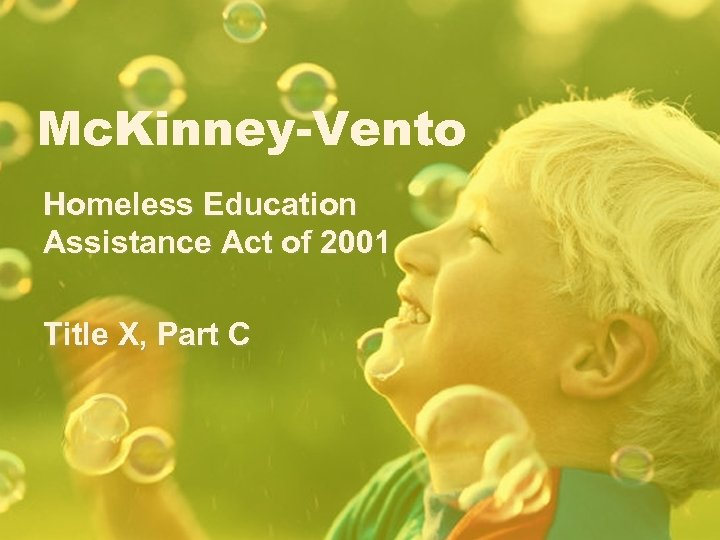 Mc. Kinney-Vento Homeless Education Assistance Act of 2001 Title X, Part C