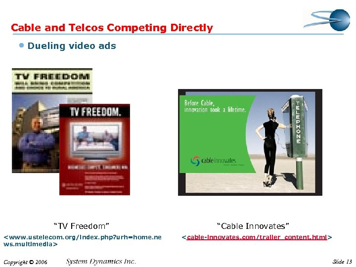 "Cable and Telcos Competing Directly • Dueling video ads ""TV Freedom"" <www. ustelecom. org/index."