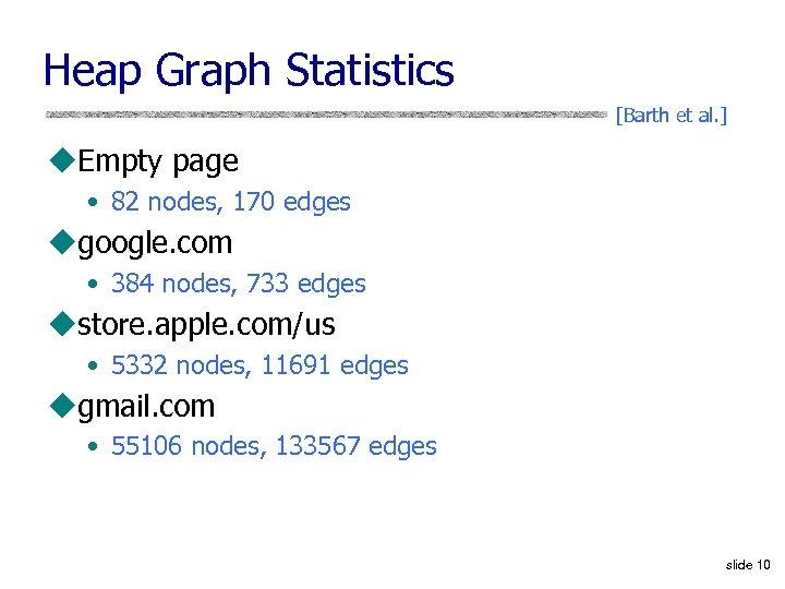 Heap Graph Statistics [Barth et al. ] u. Empty page • 82 nodes, 170