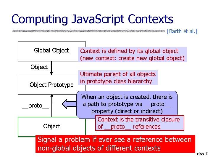 Computing Java. Script Contexts [Barth et al. ] Global Object Prototype __proto__ Object Context