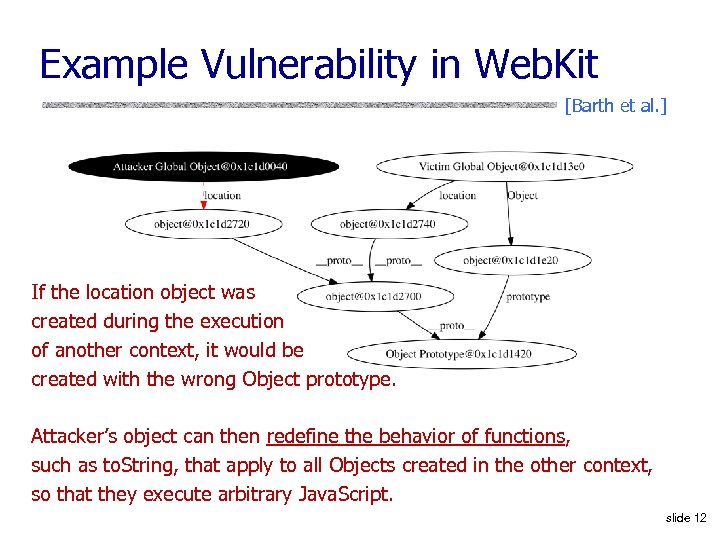 Example Vulnerability in Web. Kit [Barth et al. ] If the location object was